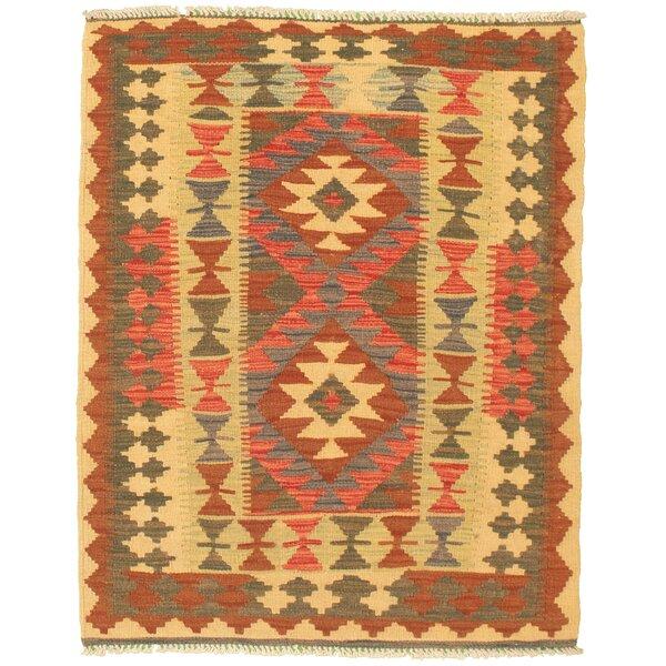Millwood Pines Goodlow Geometric Handmade Kilim Wool Brown Khaki Area Rug Wayfair