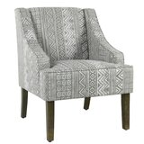 Barkley Geometric Pattern Fabric Upholstered Wooden Side Chair by Wrought Studio™