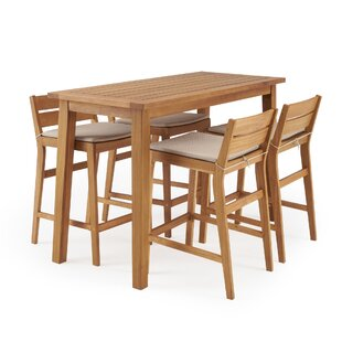 Glisson 5 Piece Teak Bar Height Dining Set with Cushions