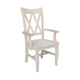 Danyale Solid Wood Double X-Back Arm Chair in Ivory by August Grove®