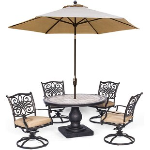 Bucci 5 Piece Dining Set with Umbrella