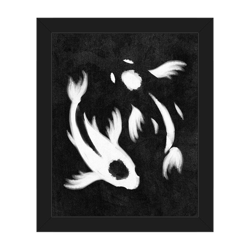 Click Wall Art Yin Yang Koi Painting Print In Black Wayfair