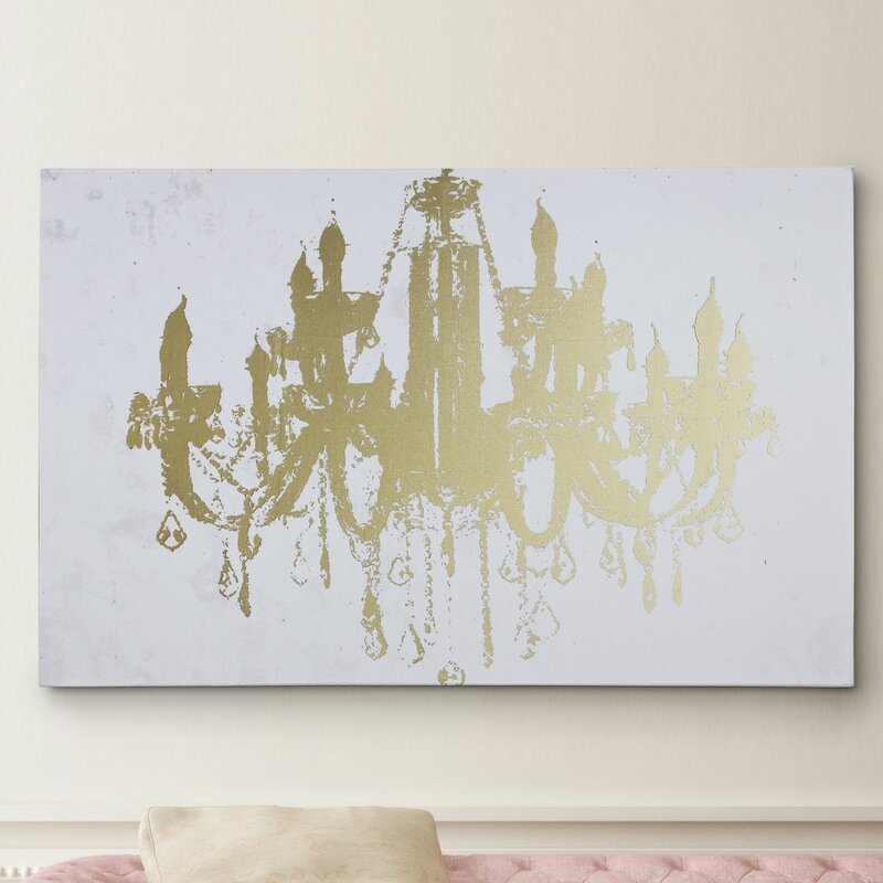 Champagne Gold Diamond Chandelier Graphic Art On Wrapped Canvas