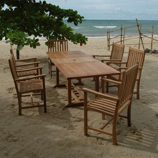 Rosecliff Heights Farnam 7 Piece Teak Dining Set with Cushions