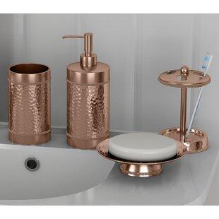 Nikolas Copper Hammered 4 Piece Bathroom Accessory Set ByRosdorf Park