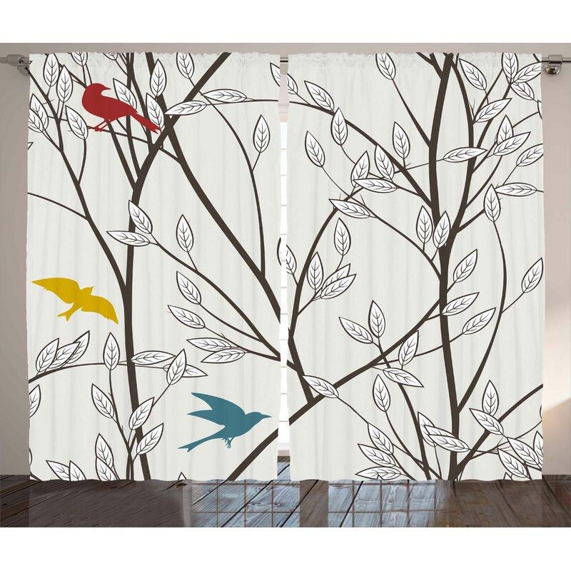 Winston Porter Spears Graphic Print Text Semi Sheer Rod Pocket Curtain Panels Reviews Wayfair
