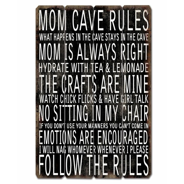 Mom Cave Rule Sign Wall Decor
