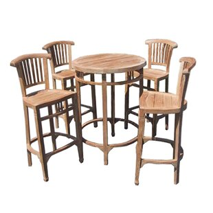 Elias 5 Piece Teak Bar Height Dining Set