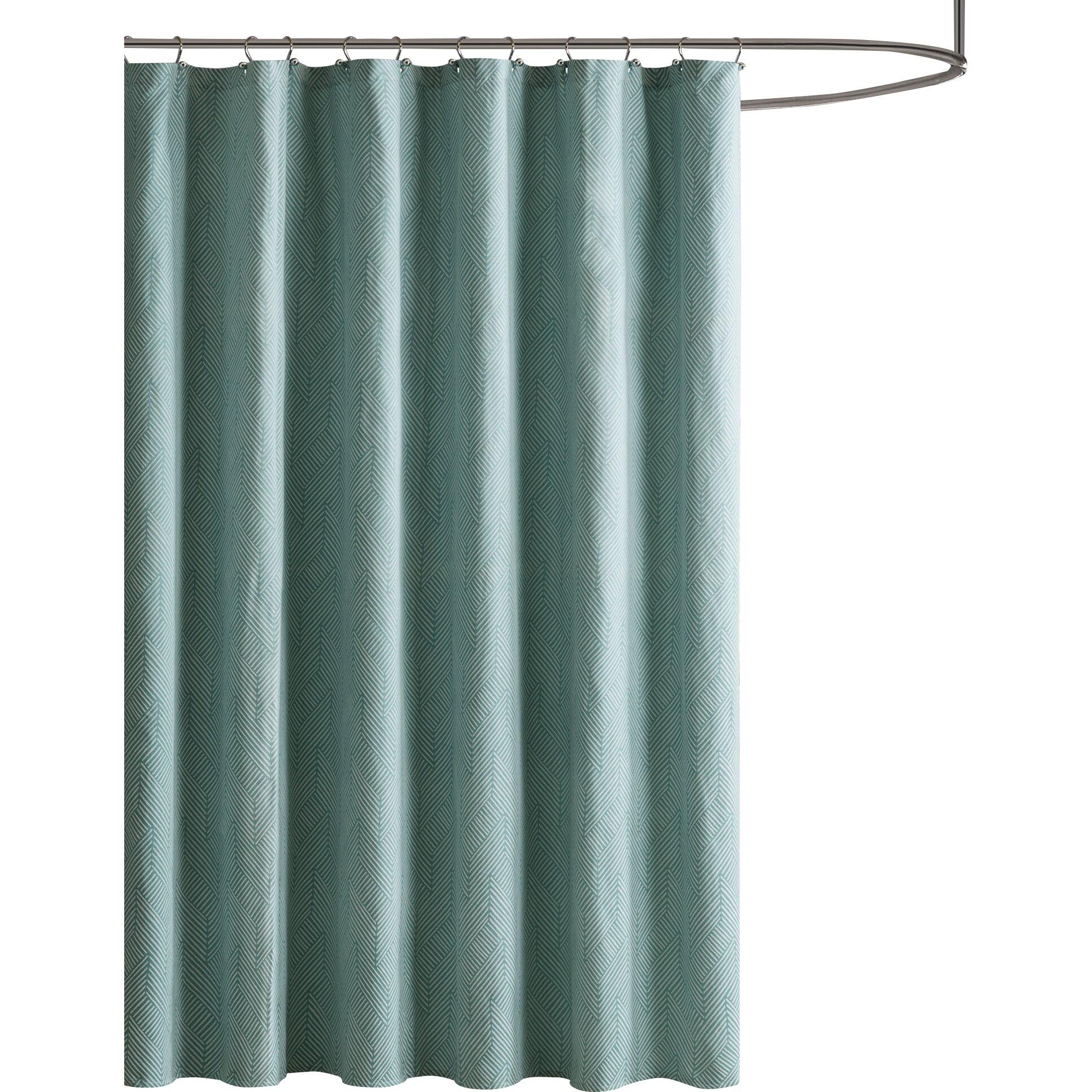 Aqua Chevron Shower Curtain - Ambrose chevron jacquard shower curtain
