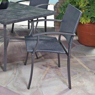 Stone Veneer Metal Arm Chair in Black