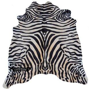 Inexpensive Ringwood Stenciled Zebra Black/White Cowhide Area Rug ByWorld Menagerie