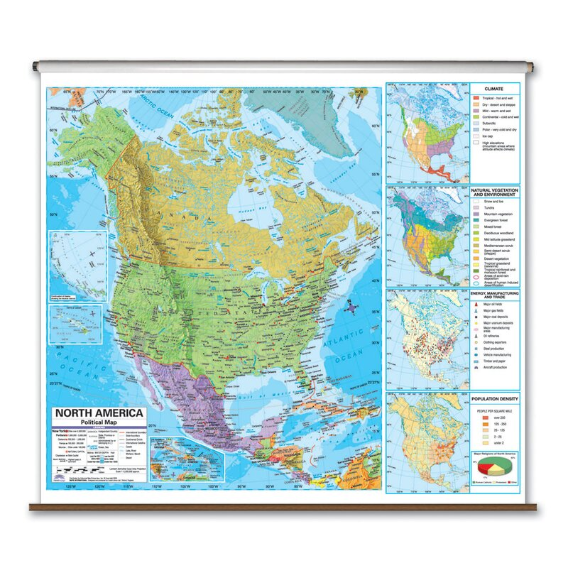 Universal Map State Wall Maps On Rollers With Backboards Wayfair