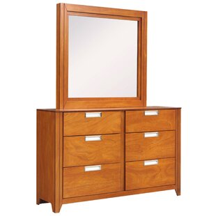 Solar 6 Drawer Double Dresser with Mirror