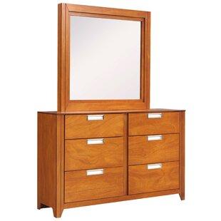 REZ Furniture Solar 6 Drawer Double Dresser with Mirror