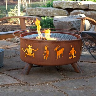 Classic Kokopelli Steel Wood Burning Fire Pit By Patina Products