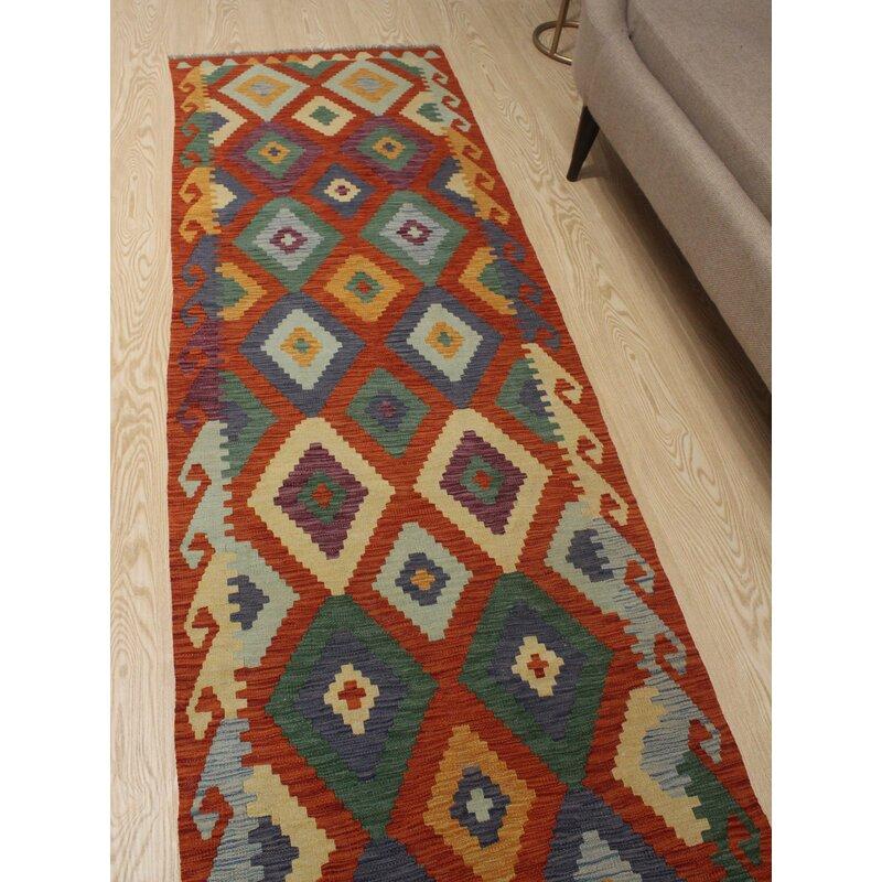 Foundry Select Hults Oriental Handmade Wool Rust Area Rug Wayfair