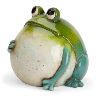 Big Belly Ceramic Frog Statue by Wind & Weather
