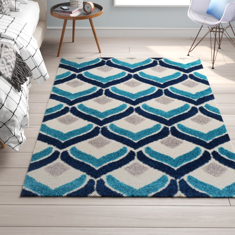 Trule Clayton Power Loom Blue Gray White Rug Reviews Wayfair
