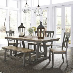 Gracie Oaks Kruger 6 Piece Extendable Solid Wood Dining