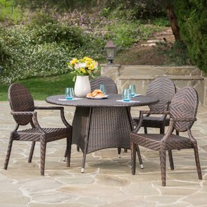 Greger Outdoor Wicker 5 Piece Dining Set by Willa Arlo Interiors