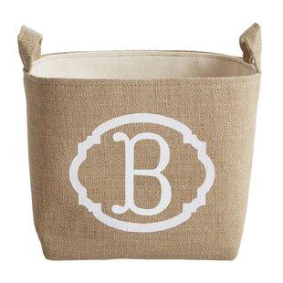 Best White Monogram Burlap Storage Bin ByA Southern Bucket