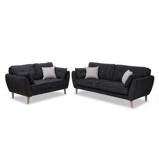 George Oliver Doucette Mid Century Modern Upholstered 2 Piece Living Room Set