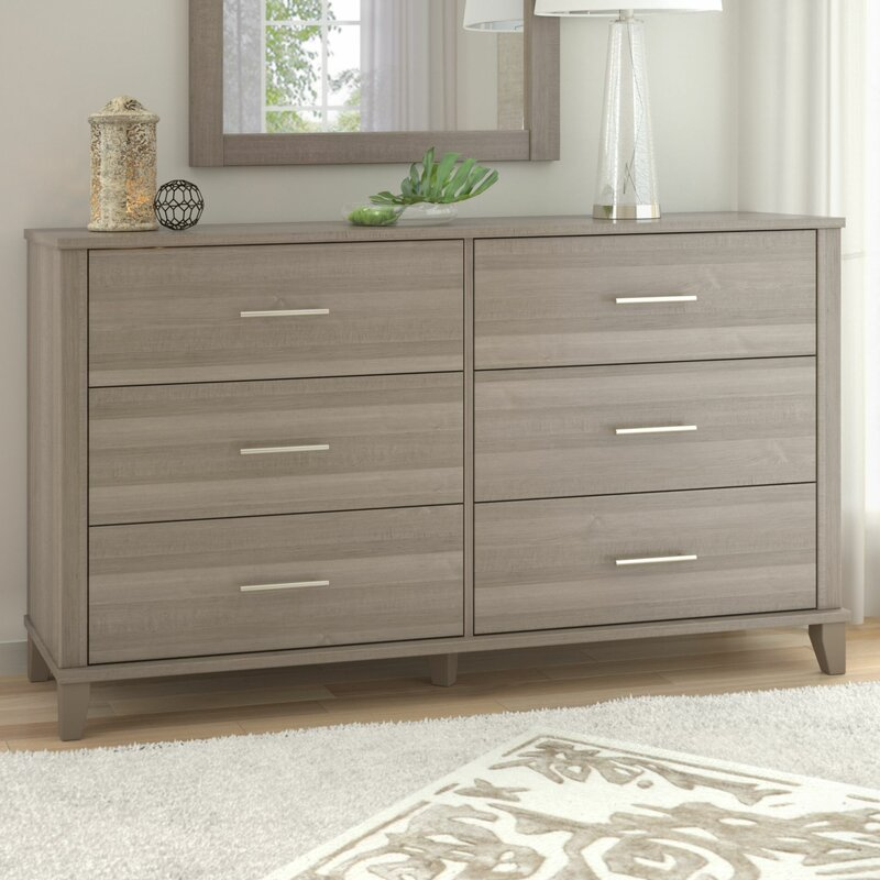 Ash Gray Kirchoff 6 Drawer Double Dresser by Ebern Designs