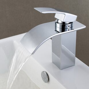 deck mount waterfall bathroom sink faucet with hoses - Waterfall Bathroom Faucet