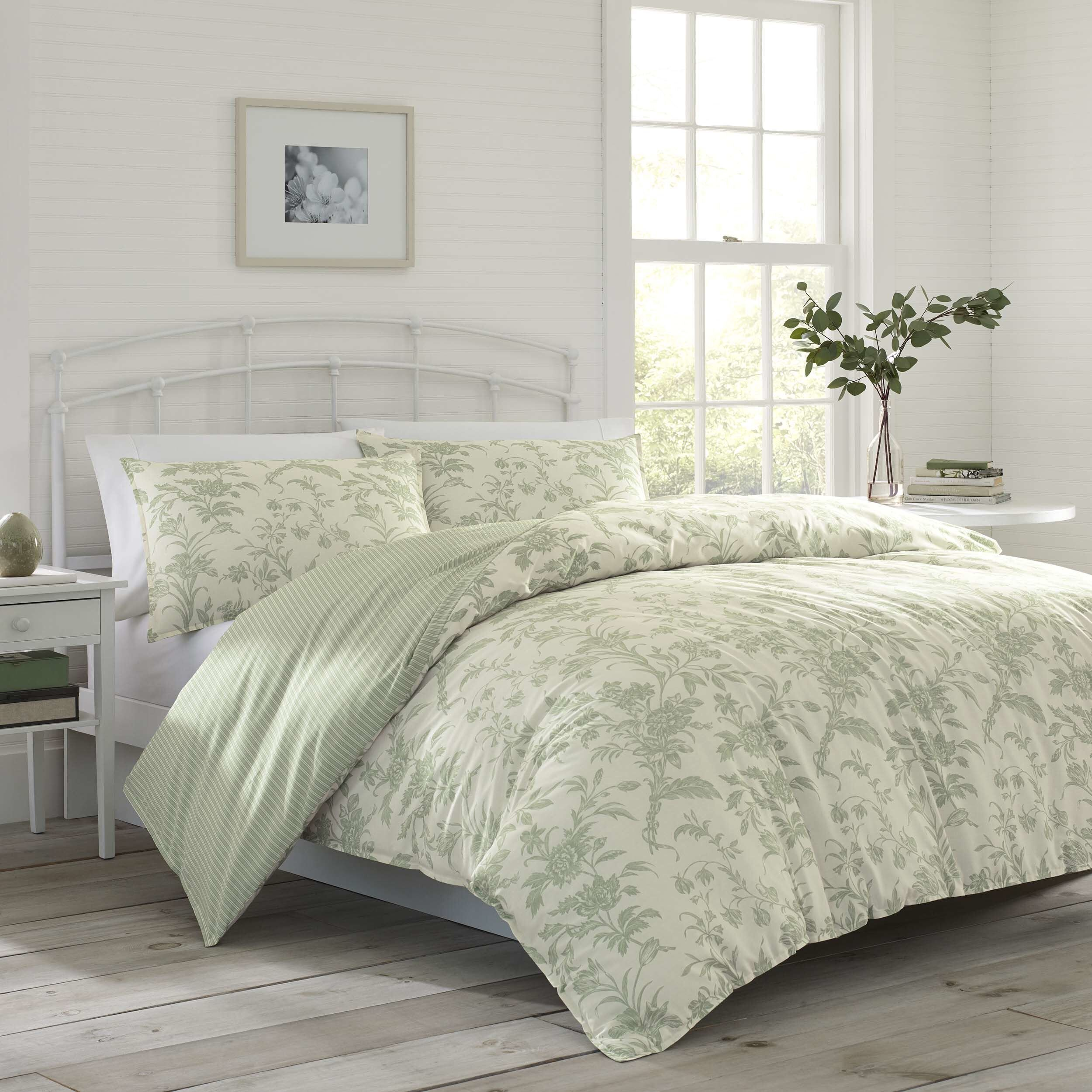 Laura Ashley Natalie Reversible Floral Cotton 5 Piece Comforter Set Reviews Wayfair