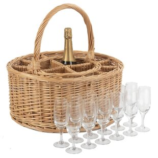 Garden Wine Basket With 12 Glasses By Brambly Cottage