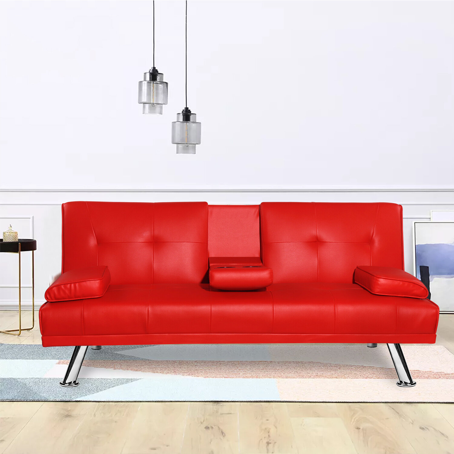 Ebern Designs Convertible Futon Sofa Bed With Armrest Recliner Couch Furniture Red Wayfair Ca