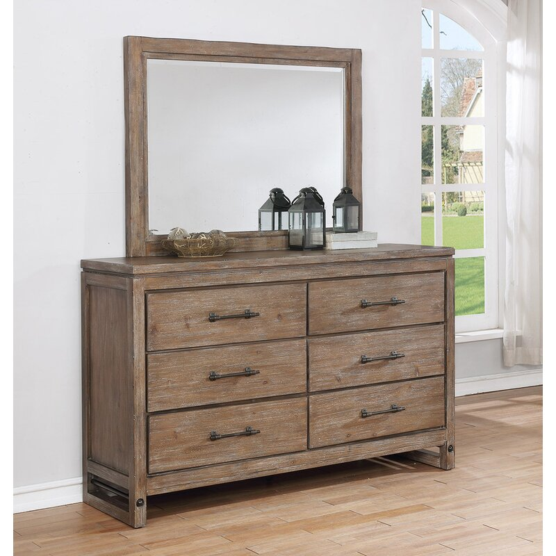 Round Rock 6 Drawer Dresser With Mirror