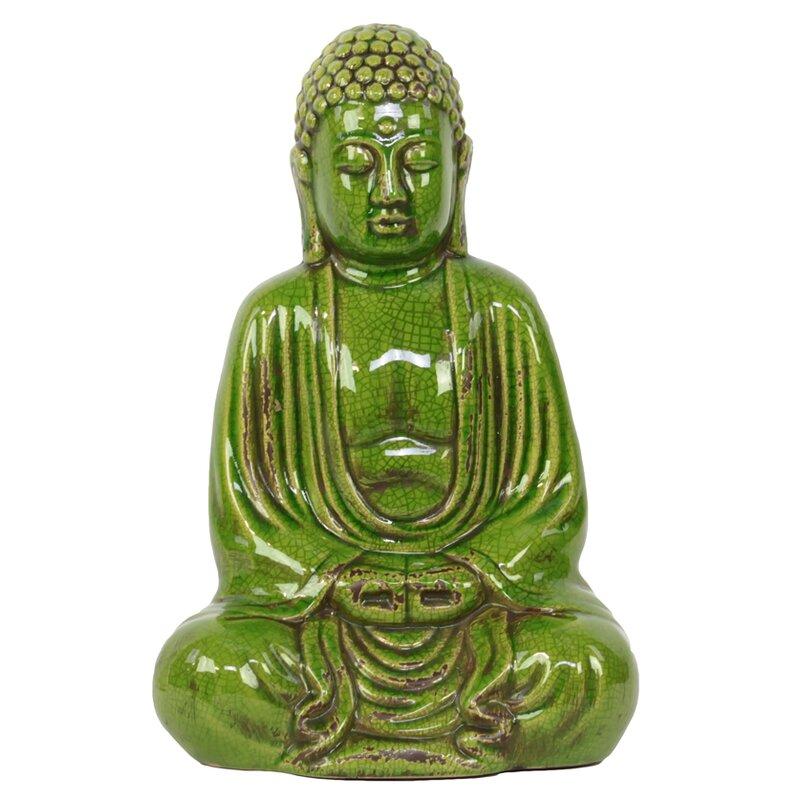 Urban Trends Ceramic Meditating Buddha in Dhyana Mudra Gloss Yellow Green Figurine