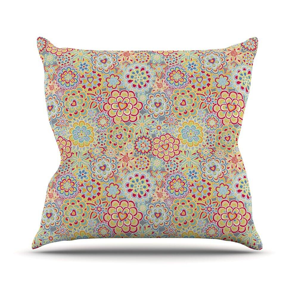 KESS InHouse My Happy Flowers in Red Outdoor Throw Pillow Wayfair