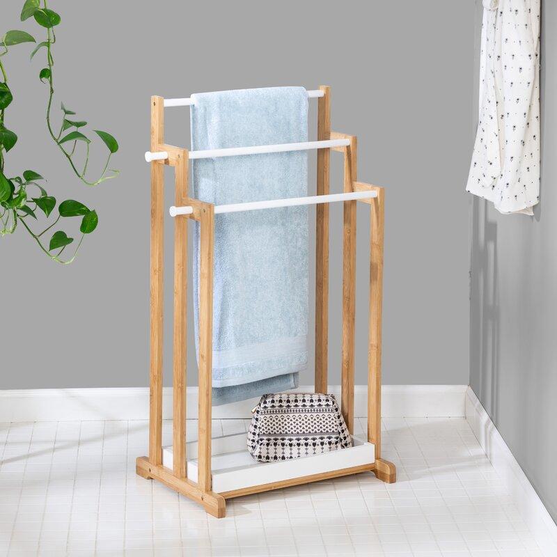 Honey Can Do Bamboo Bath Free Standing Towel Rack Reviews Wayfair