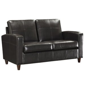 Wilmot Leather Loveseat by Varick Gallery