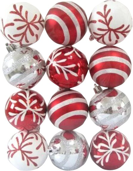 Andover Mills Red And White Ball Ornament With Snowflake And Line