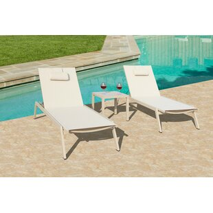 Brayden Studio Daucourt Reclining Chaise Lounge with Table