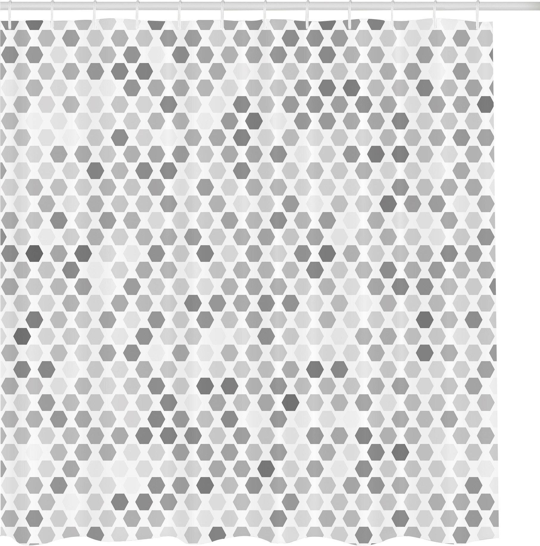 Zipcode Design Jamila Zig Zag Hexagon Figures In Bright And Dark Color Hue Tone Intensity Blush Art Print Shower Curtain Set Reviews Wayfair