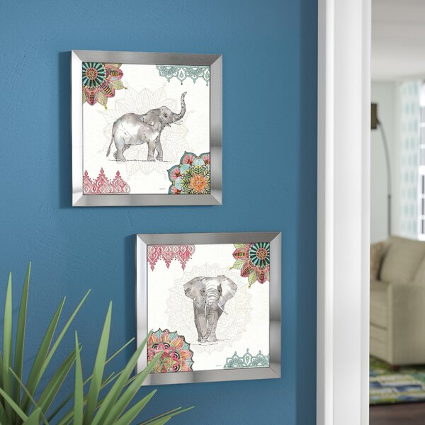 'Mandala Morning III' 2 Piece Framed Elephant Graphic Art Set