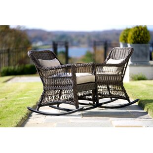 Rosecliff Heights Pair Chretien Outdoor Wicker Rocking Chair (Set of 2)