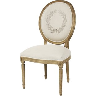 Zentique Medallion Side Chair in Linen - Printed Natural
