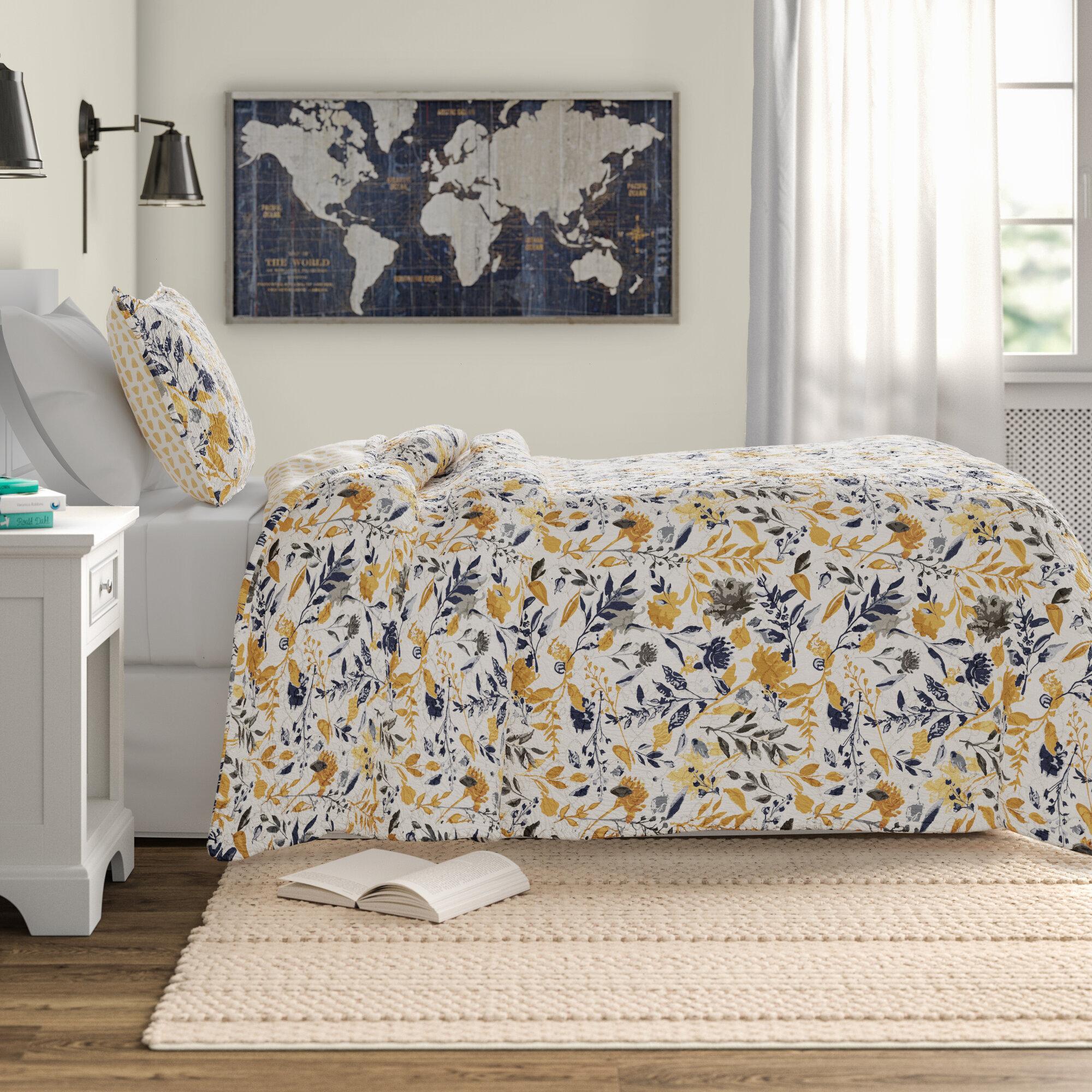 Knowle Reversible Floral 100 Cotton Quilt Set Reviews Birch Lane