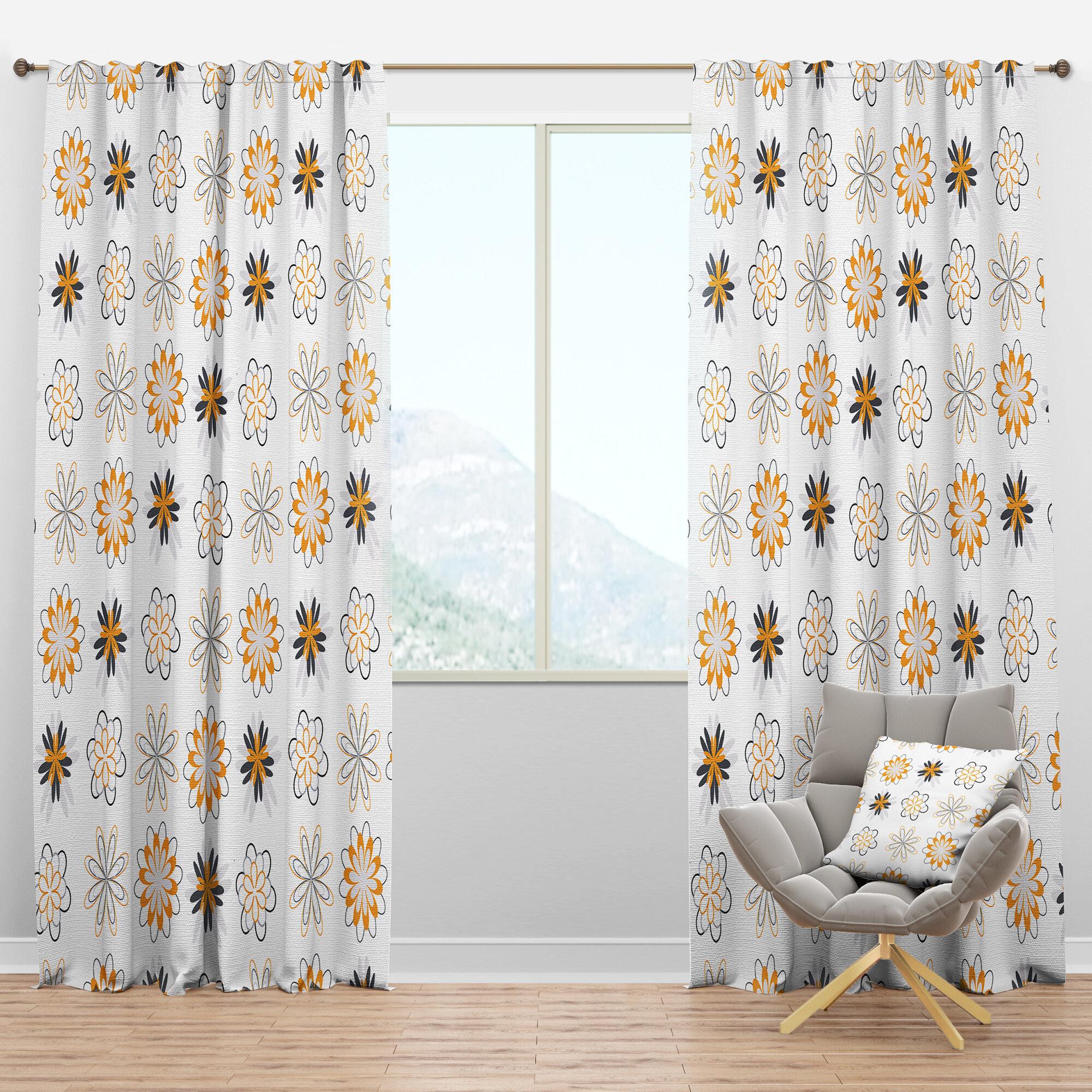Designart Mid Century Retro Viii Floral Semi Sheer Thermal Rod Pocket Curtain Panels Wayfair