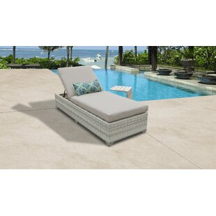 Fairmont Reclining Chaise Lounge with Cushion and Table by TK Classics