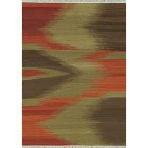 Santana Hand-Woven Red/Brown Area Rug