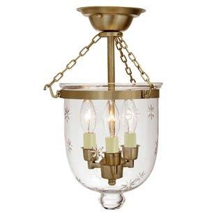 Alcott Hill Dianna 3-Light Small Bell Jar Semi Flush Mount with Star Glass