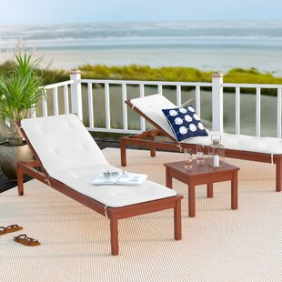 Elsmere 3 Piece Chaise Lounge Set with Cushions by Beachcrest Home