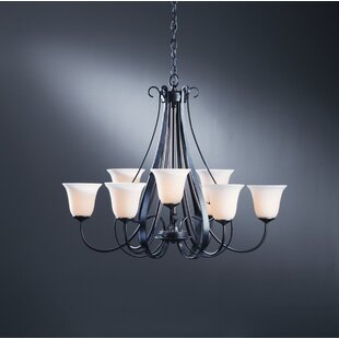 Top 9-Light Shaded Chandelier By Hubbardton Forge