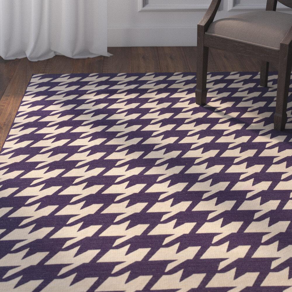 Corrigan Studio Destinee Geometric Handmade Tufted 5 X 8 Wool Purple Natural Area Rug Wayfair